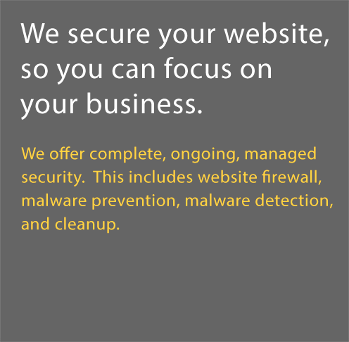 We secure your web site, so you can focus on your business