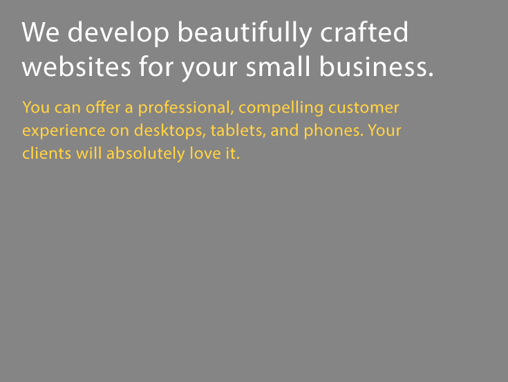 We develop beautifully crafted websites for your small business